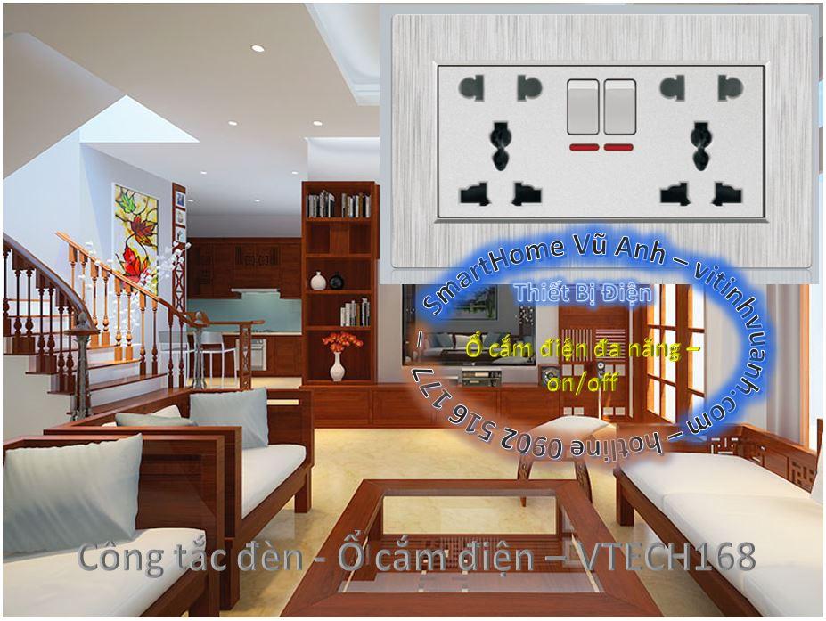 Ổ cắm điện đa năng sọc xám có 2 công tắc Led 147- âm tường