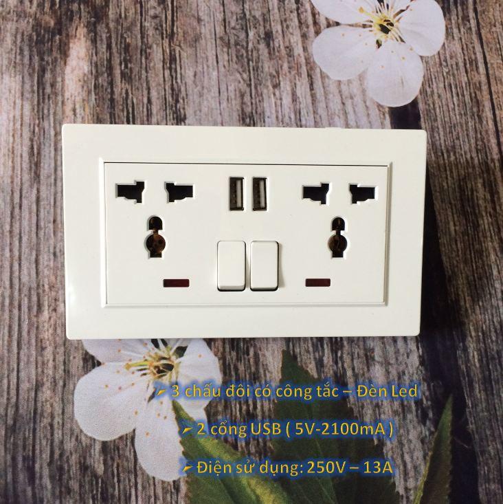 Ổ cắm điện 3 chấu đôi đa năng có 2 cổng USB – Âm Tường – Màu Trắng