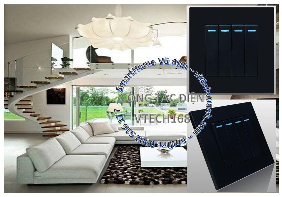Công tắc 4 phím 1 chiều VTECH168 LTHS04