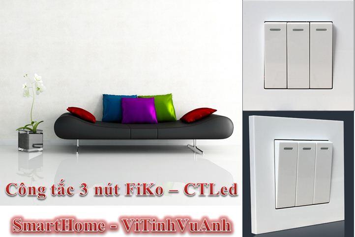 Công tắc FiKo 3 chấu - CTLed ( Vuông )