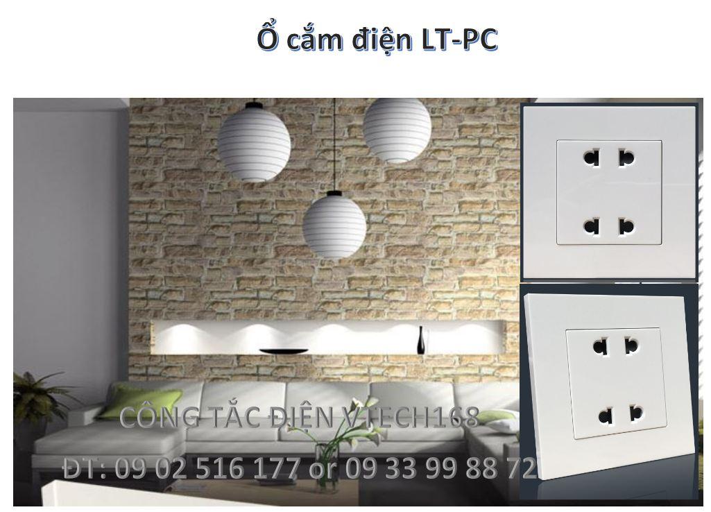 Ổ cắm điện 2 chấu đôi 1 chiều LT-PC