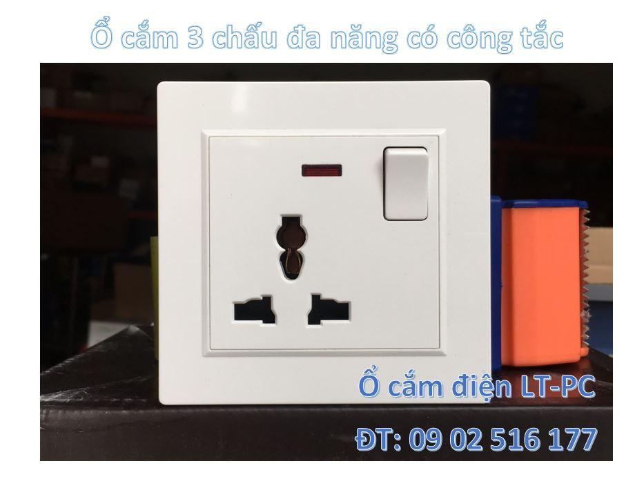 Ổ cắm điện đa năng 3 chấu có công tắc LT-PC