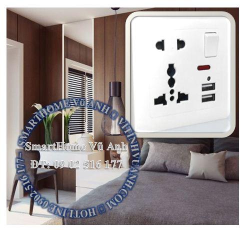 Ổ cắm điện đa năng có 2 USB- Công tắc Led