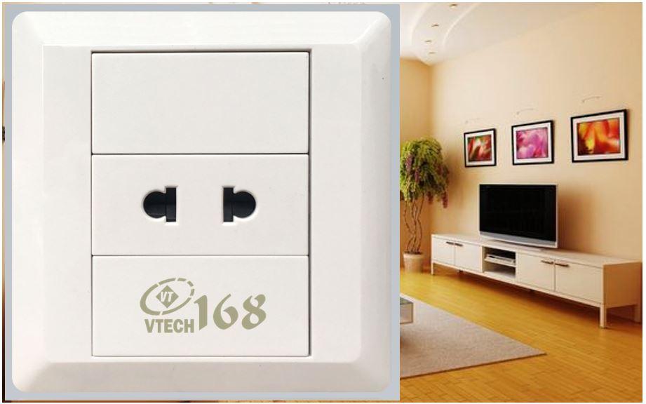 Ổ cắm điện 2 chấu đơn VTECH168 - SS05