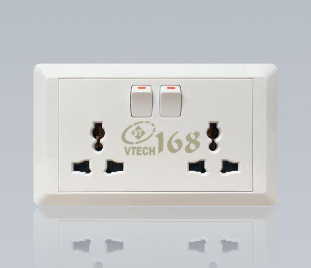 Ổ cắm điện đa năng 3 chấu đôi có công tắc nguồn VTECH168 - SS147