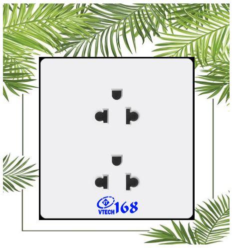ổ cắm điện 3 chấu đa năng vuông màu trắng_TT14