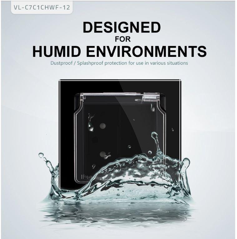 ổ cắm điện có hộp chống nước Livolo VL-C7-C1CHWF-12