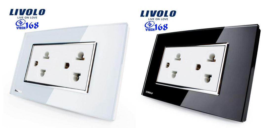 ổ cắm điện 3 chấu đôi Livolo VL-C3C2CUS