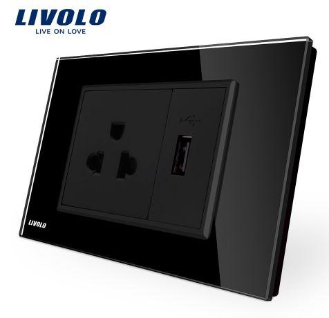 Ổ cắm điện đa năng có cổng usb Livolo VL-C9C1US1U