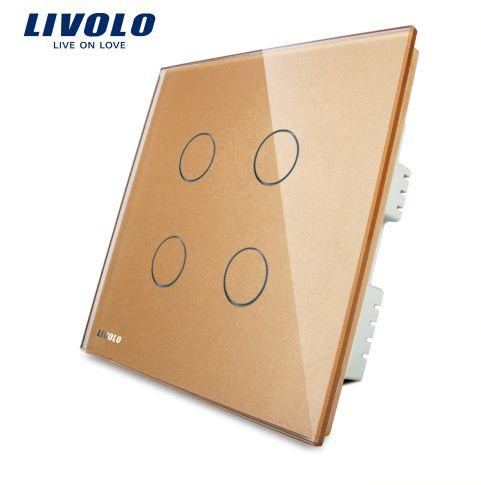 Công tắc cảm ứng mặt kính cường lực 4 phím Livolo VL-C304