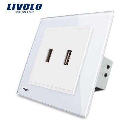 Ổ cắm mặt kính âm tường 2 cổng USB Livolo VL-W292USB