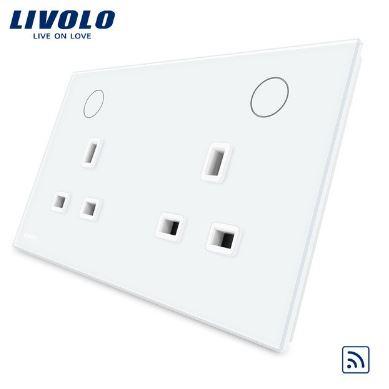 Ổ cắm đa năng 3 chấu đôi có công tắc điều khiển từ xa thông minh Livolo VL-W2C2UKR