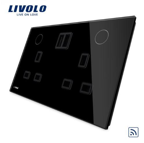 Ổ cắm đa năng 3 chấu đôi có 2 USB, có công tắc điều khiển từ xa thông minh Livolo VL-W2C2UKRU