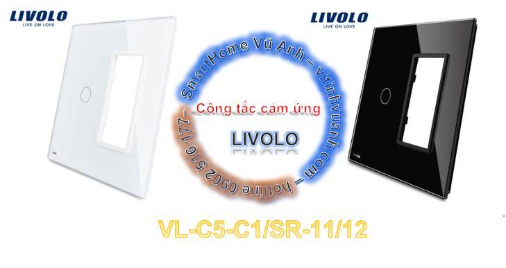 Công tắc cảm ứng 1 phím có socket ổ cắm Livolo VL-C5-C1+SR