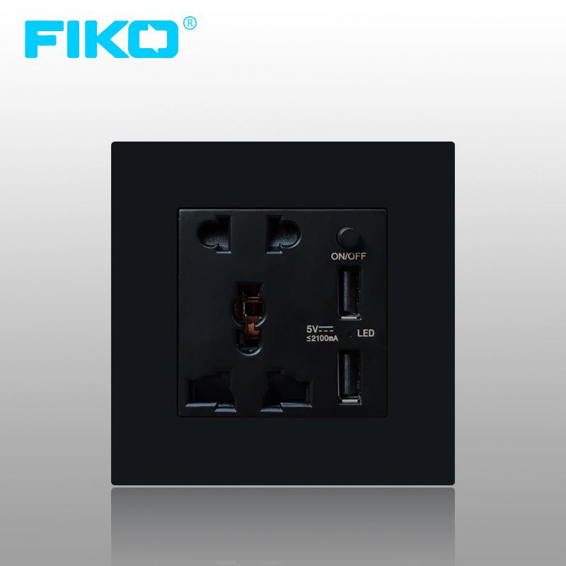 Ổ cắm đa năng 86 có 2 cổng USB FiKo - màu đen - Âm tường
