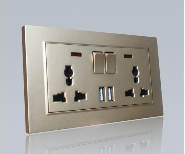 Ổ cắm 3 chấu đôi & 2 cổng USB - điện âm tường FiKo-2OCUS