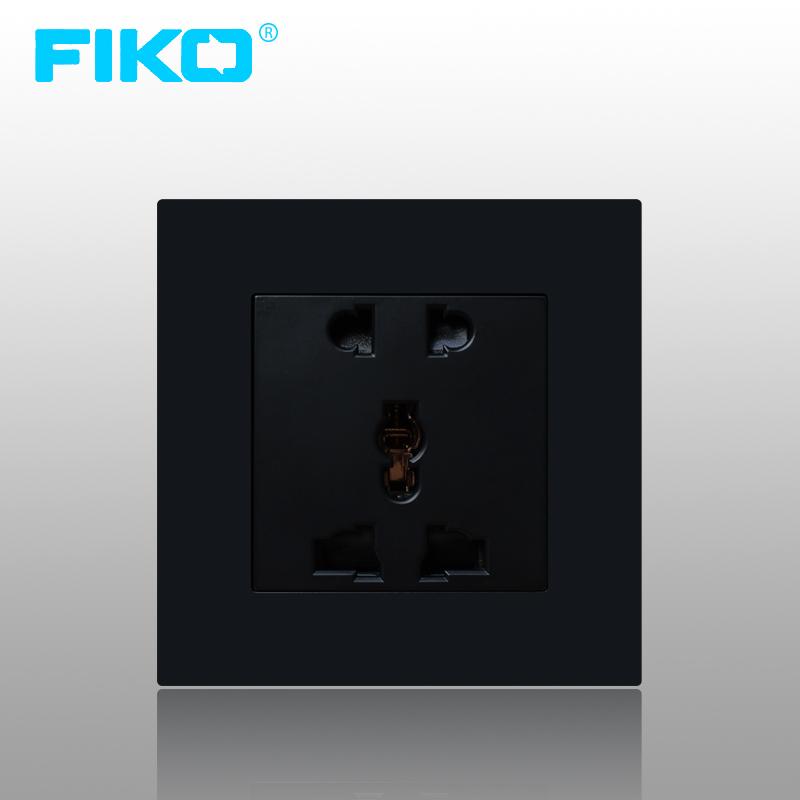 Ổ cắm 3 chấu & 2 chấu FiKo - có công tắc Led ( màu đen )
