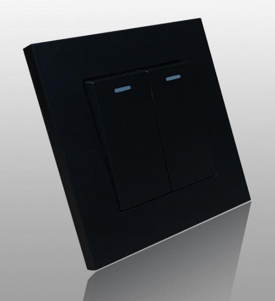 Công tắc 2 nút - một chiều - màu đen - FiKo
