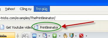 Lựa chọn từng nội dung trang web cần in với Printliminator