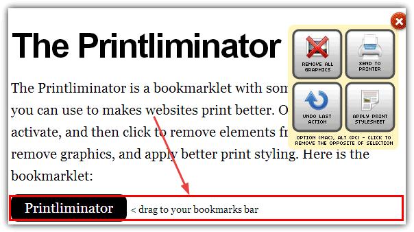 In bất kỳ nội dung trên trang web với Printliminator