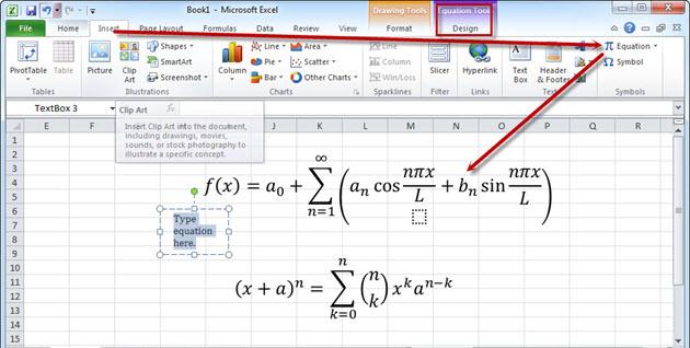 Chèn công thức toán học vào exel 2007, 2010, 2013