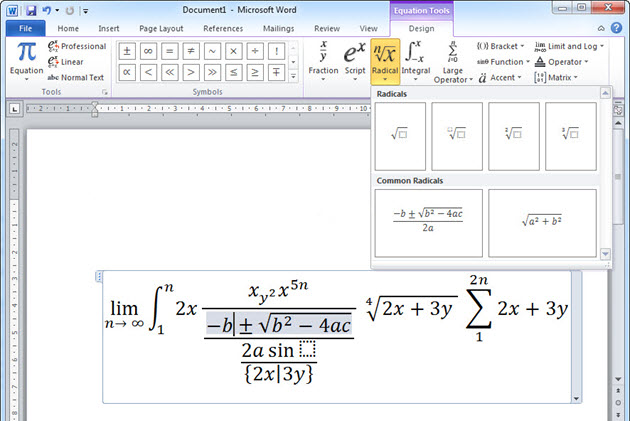chèn công thức toán vào bảng tính exel