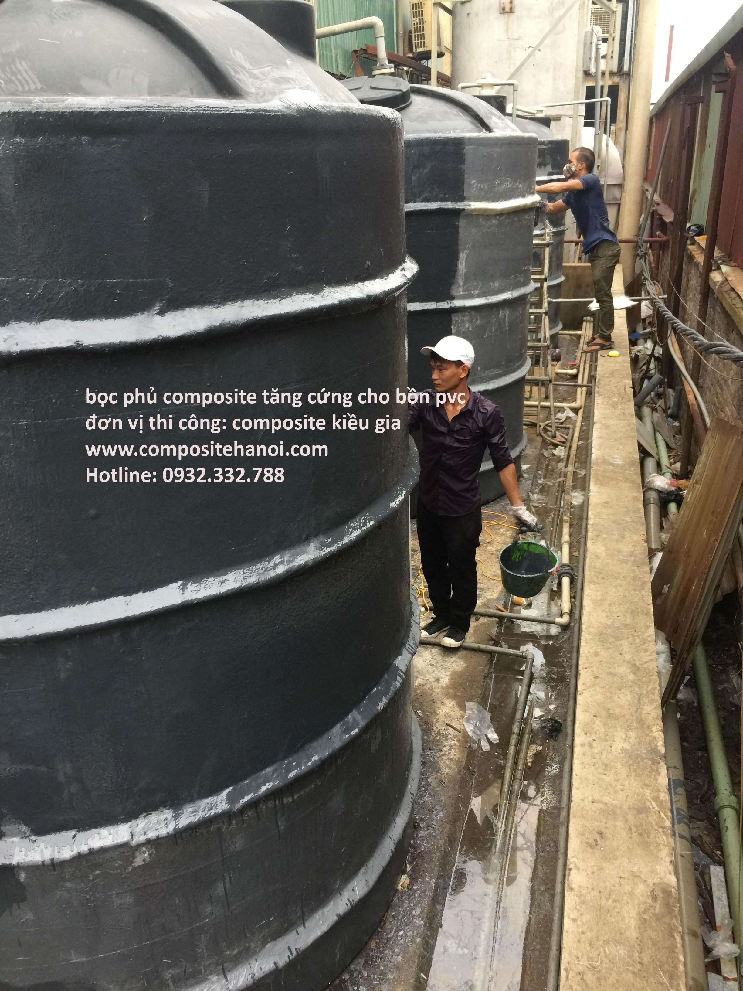 Bọc phủ composite tăng cứng cho bồn nhựa pvc- Bắc Ninh