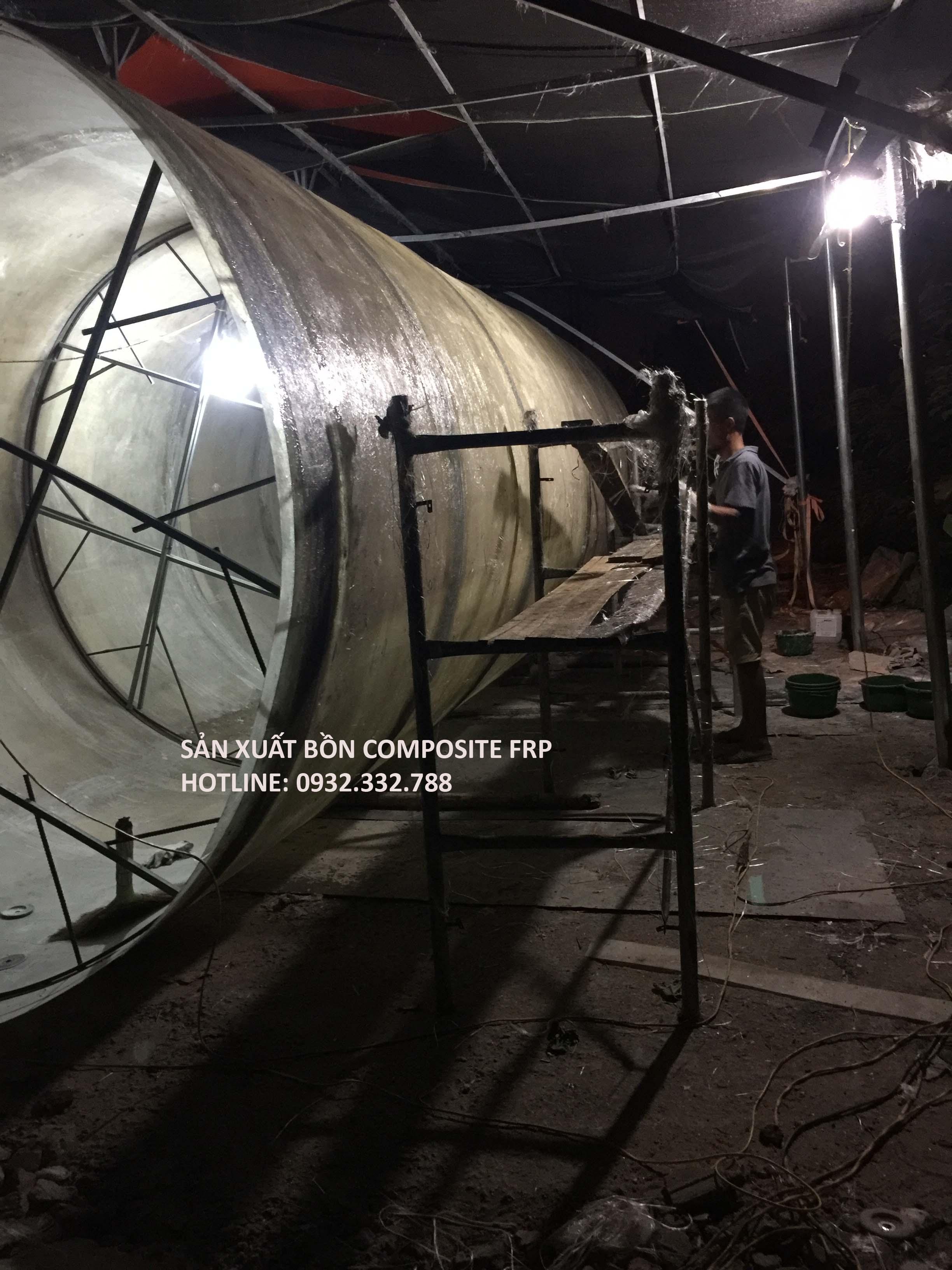 Bồn composite chứa hóa chất đk 2500x7000mm