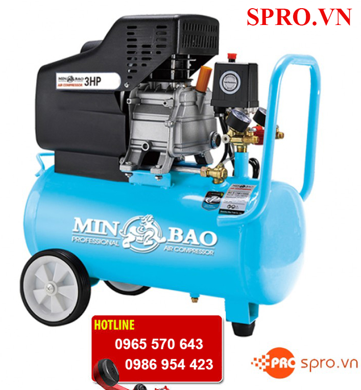 Máy bơm hơi mini, máy nén khí 3hp Minbao MB24 bình 24 lít
