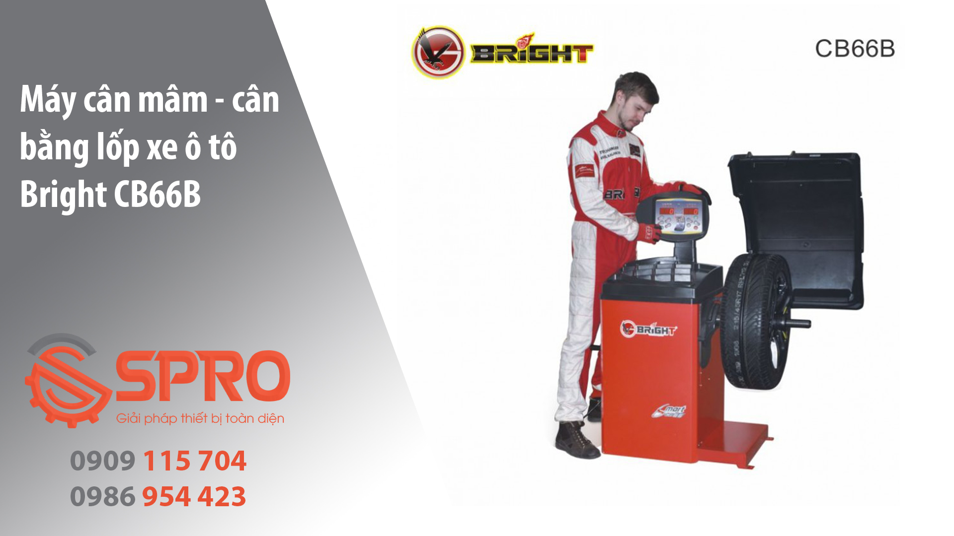 Máy cân mâm, máy cân bằng lốp bánh xe Bright tại HCM