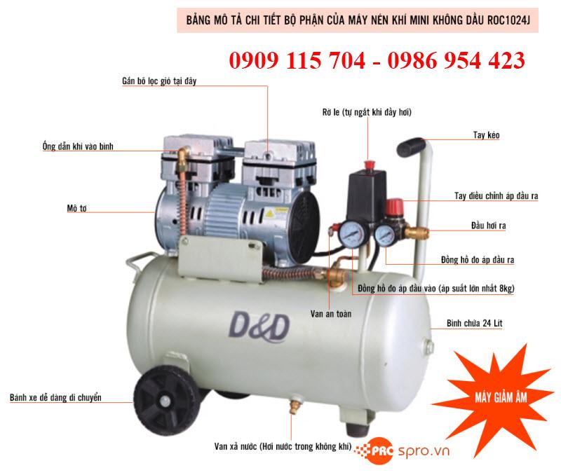 Máy nén khí, máy bơm hơi mini không dầu và có dầu