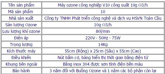 Thông số kỹ thuật máy ozone công nghiệp 10g
