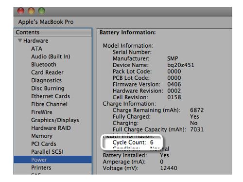 Thông số kiểm tra tình trang sử dụng pin Macbook