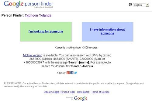 Google lập trang web tìm người thân sau siêu bão Haiyan