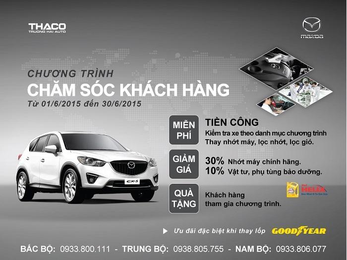 Ưu đãi dịch vụ để chi ân các khách hàng sở hữu xe Mazda tháng 06/2016