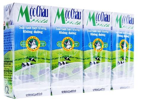 Sữa tươi tiệt trùng Mộc châu Không đường lốc 4 hộp x 180ml