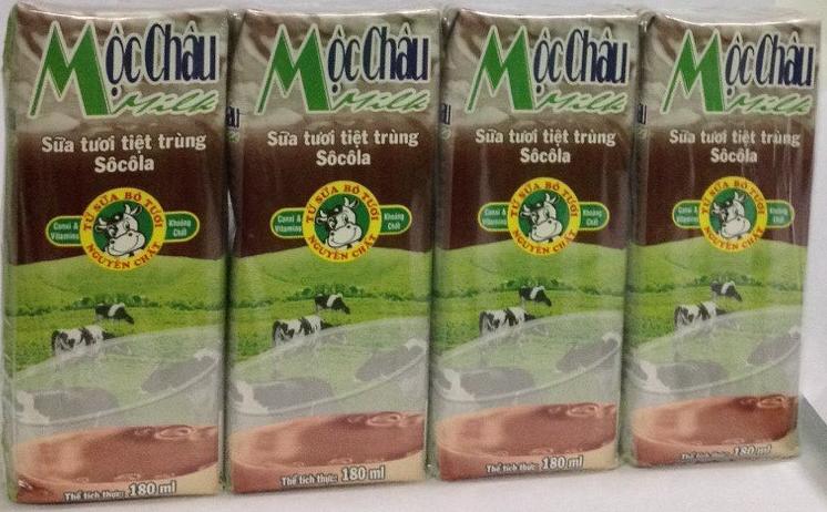 Sữa tươi tiệt trùng Sôcôla Mộc Châu 4 hộp x 180ml