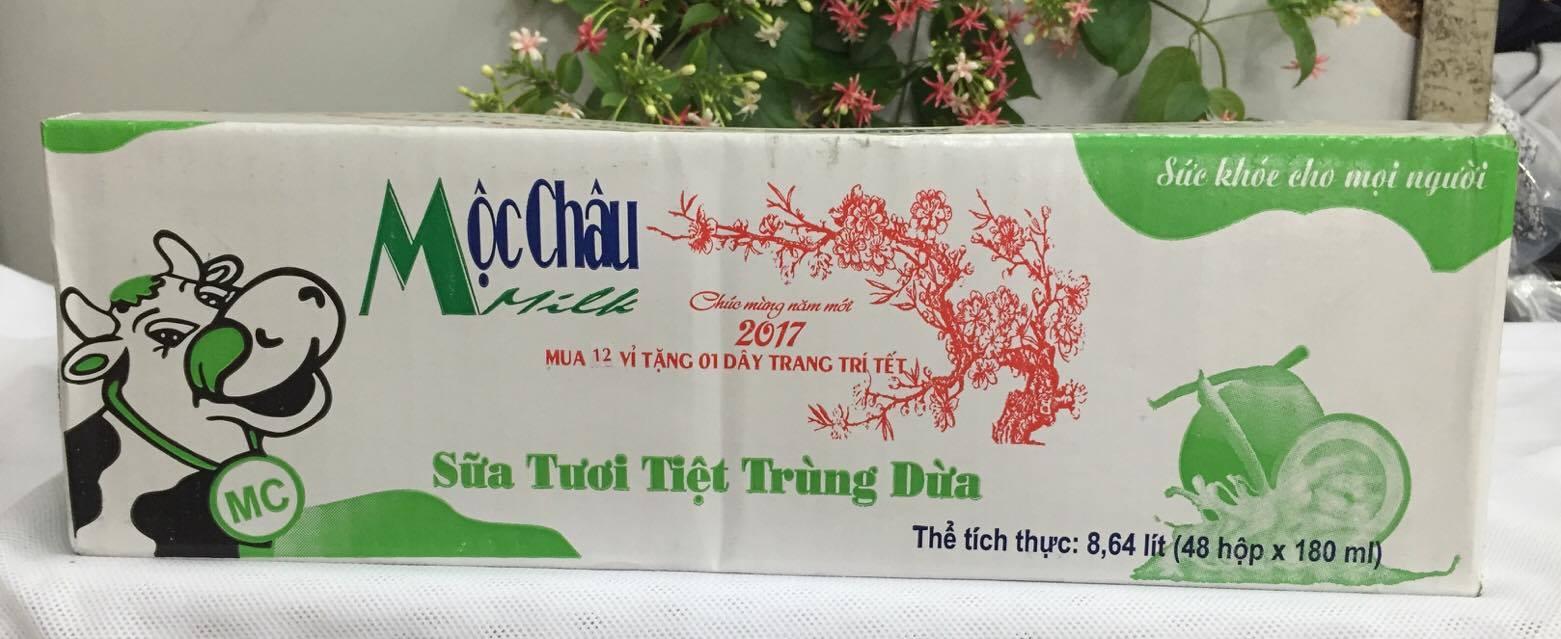 Sữa tươi tiệt trùng Mộc Châu hương Dừa - Thùng 48 hộp x 180ml