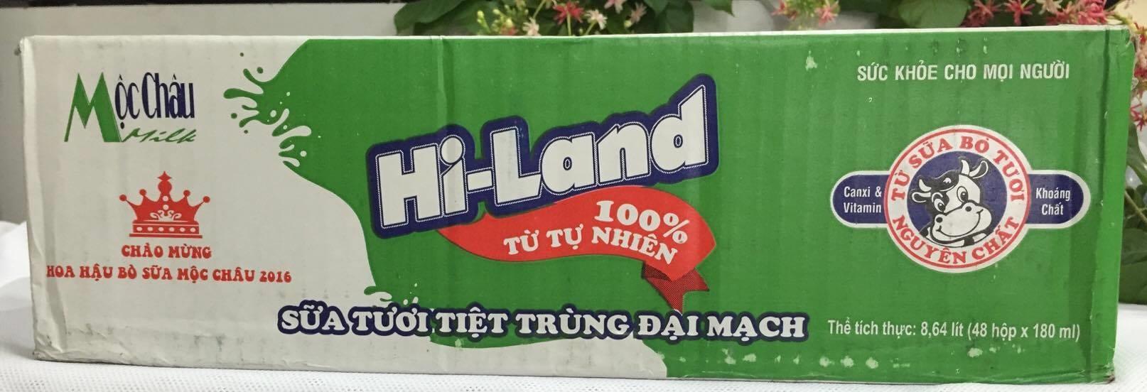 Sữa tươi tiệt trùng đại mạch Hi-Land Mộc châu - Thùng 48 hộp x 180ml