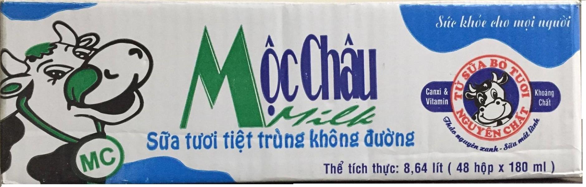 Sữa tươi tiệt trùng Mộc châu Không đường - Thùng 48 hộp x 180ml