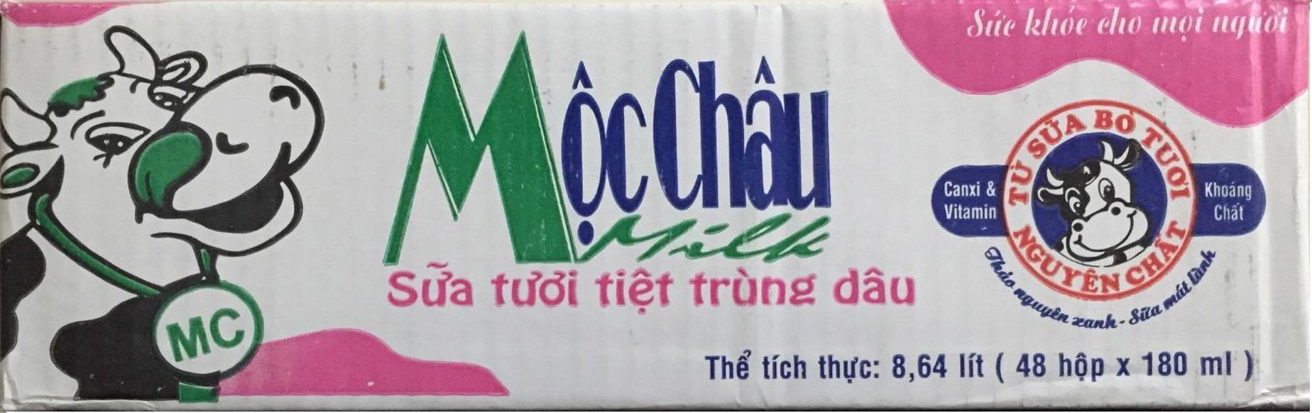 Sữa tươi tiệt trùng hương Dâu Mộc châu - Thùng 48 hộp x 180ml