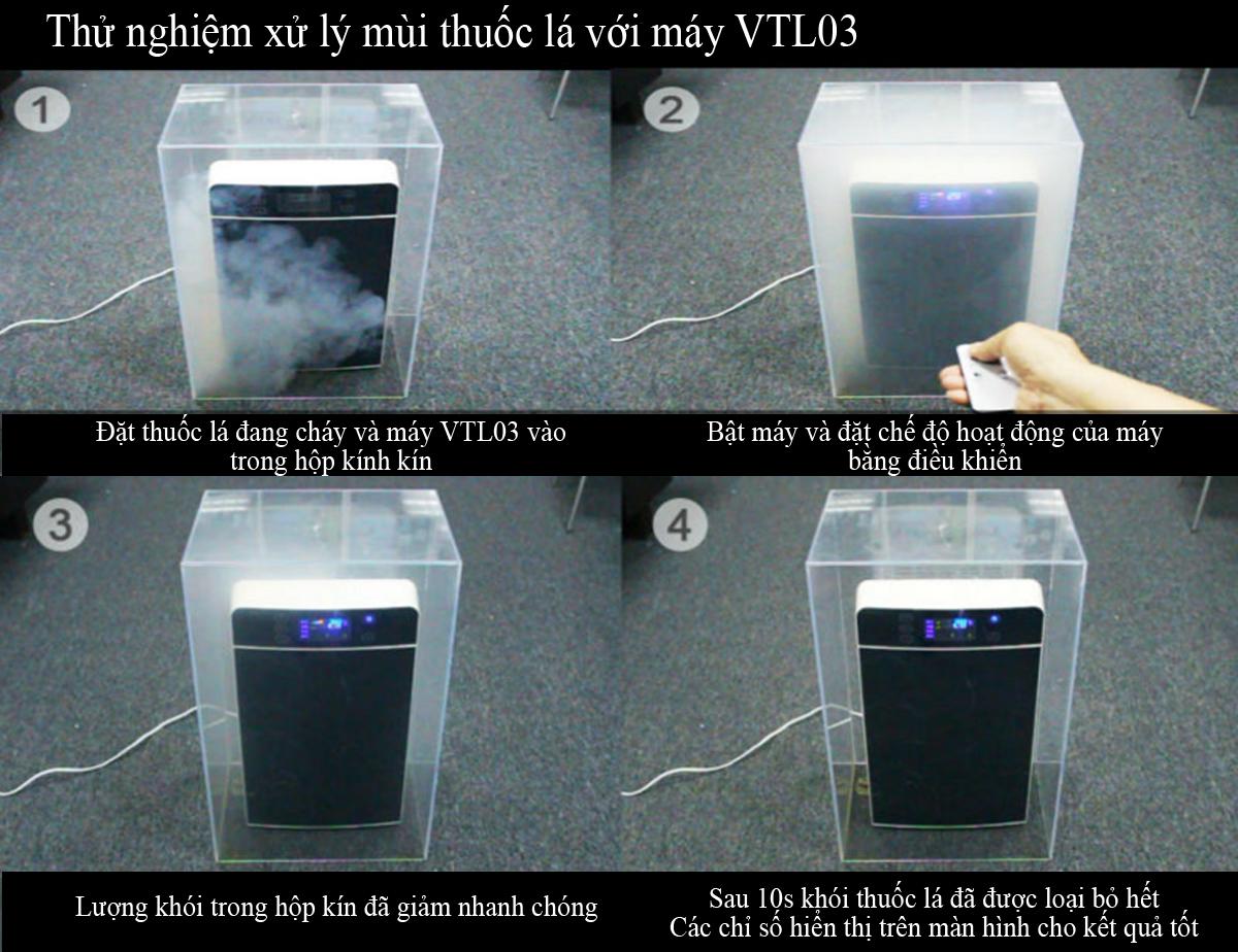 Thử nghiệm xử lý mùi thuốc lá với máy VTL03