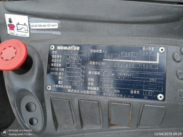 số khung Xe nâng cũ Komatsu FB15HB-12, tải trọng 1.5 tấn, nâng cao 3m, sx 2014