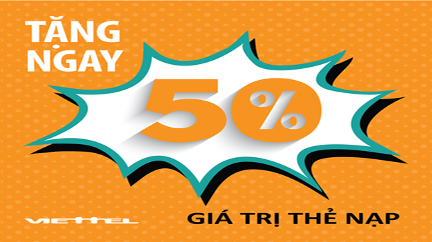 Viettel khuyến mại 50% thẻ nạp ngày 31/03/2017
