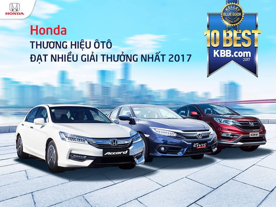 """Honda nhận danh hiệu """"Thương hiệu ôtô đạt nhiều giải thưởng nhất năm 2017"""