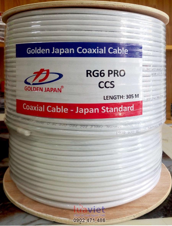 Cáp camera RG6Plus-CCS GOLDEN JAPAN  (màu trắng)