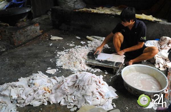 Quy trình sản xuất bóng bì lợn mất vệ sinh
