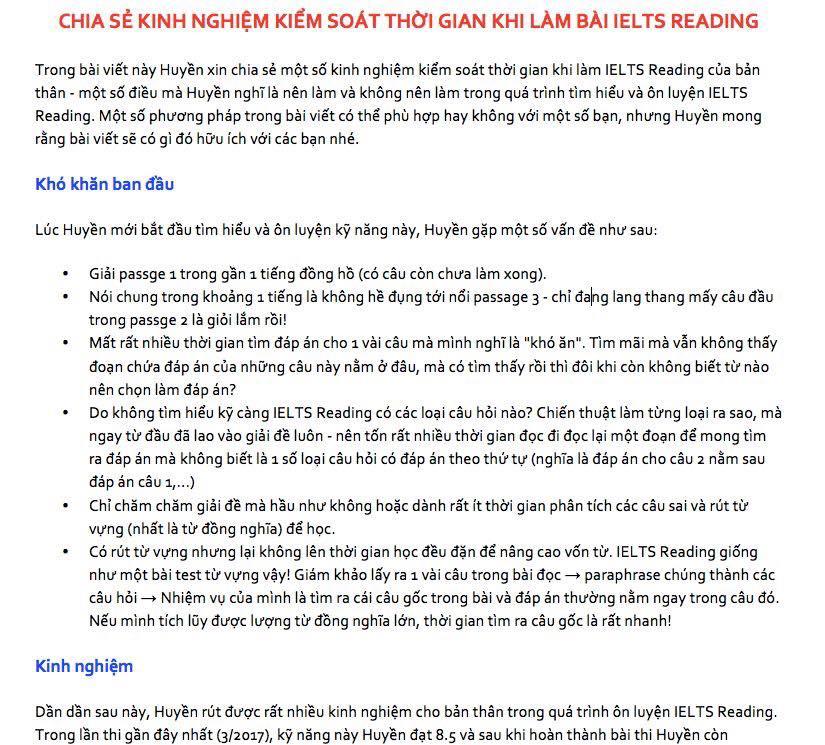 CHIA SẺ KINH NGHIỆM KIỂM SOÁT THỜI GIAN KHI LÀM BÀI IELTS READING