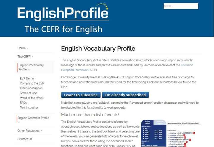 Site học từ vựng và ngữ pháp theo cấp độ từ A1-C2