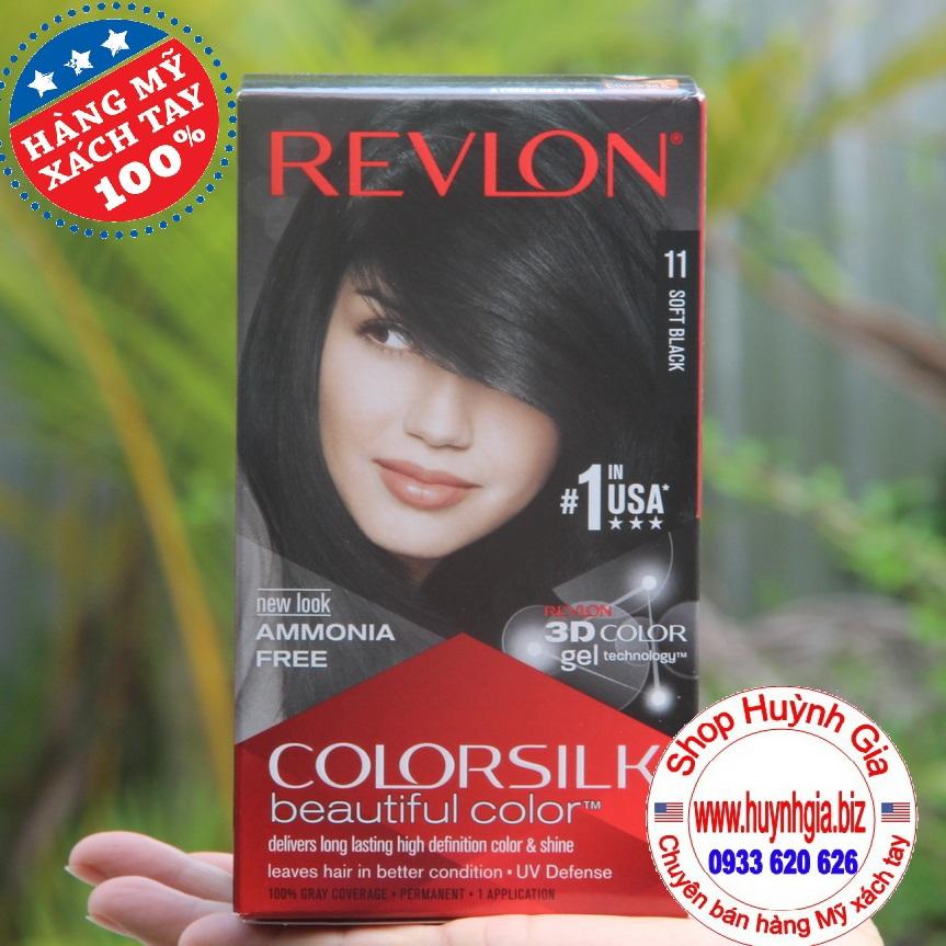 Thuốc nhuộm tóc màu đen Revlon Soft Black #11